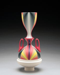 Untitled with Red Handles, Contemporary Porcelain Sculpture with Gold Luster