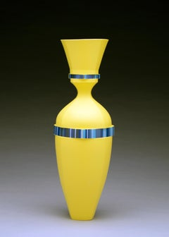 Yellow Vase, Contemporary Design, Porcelain Sculpture with Geometric Pattern