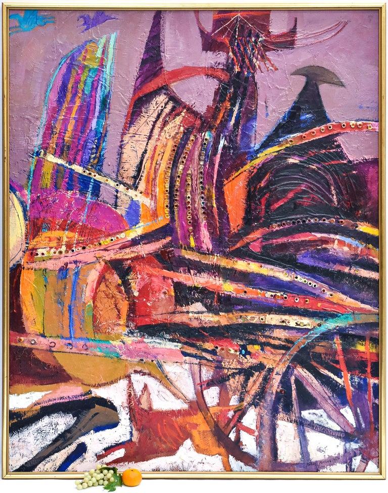 Preteky s Pegasom - Triptych- Peter Pollág - Original artwork - Abstract Painting by Peter Pollág