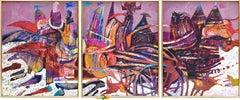 Preteky s Pegasom - Triptych- Peter Pollág - Original artwork