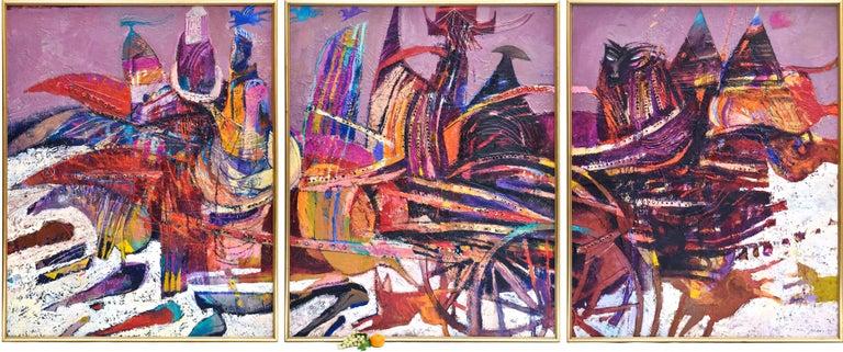 Preteky s Pegasom - Triptych- Peter Pollág - Original artwork - Painting by Peter Pollág