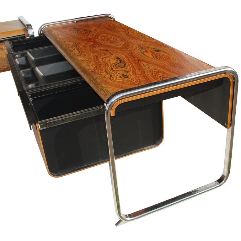 Mid-Century Modern Peter Protzmann Zebra Wood and Chrome Desk for Herman Miller For Sale