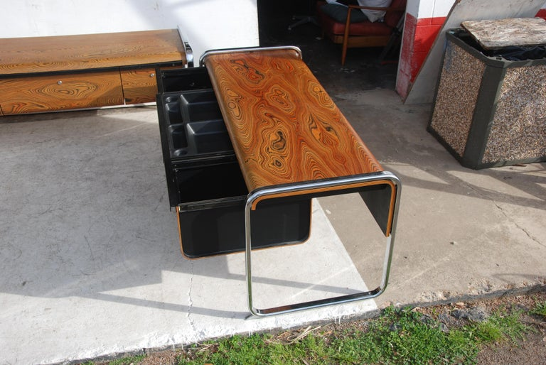 American Peter Protzmann Zebra Wood and Chrome Desk for Herman Miller For Sale
