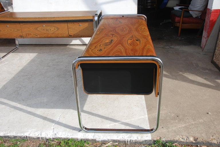 Late 20th Century Peter Protzmann Zebra Wood and Chrome Desk for Herman Miller For Sale