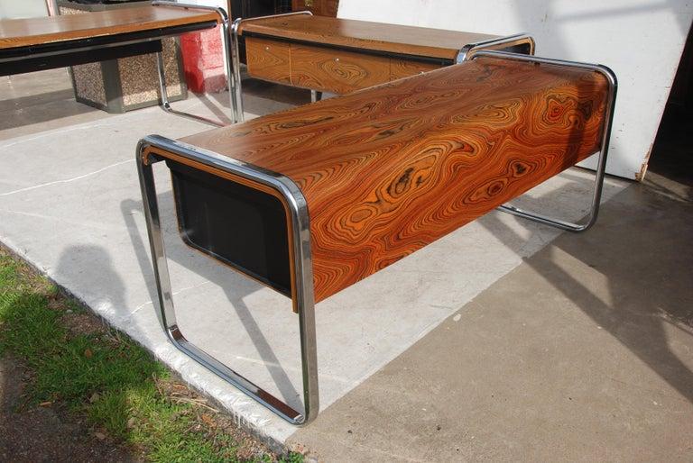 Peter Protzmann Zebra Wood and Chrome Desk for Herman Miller For Sale 1