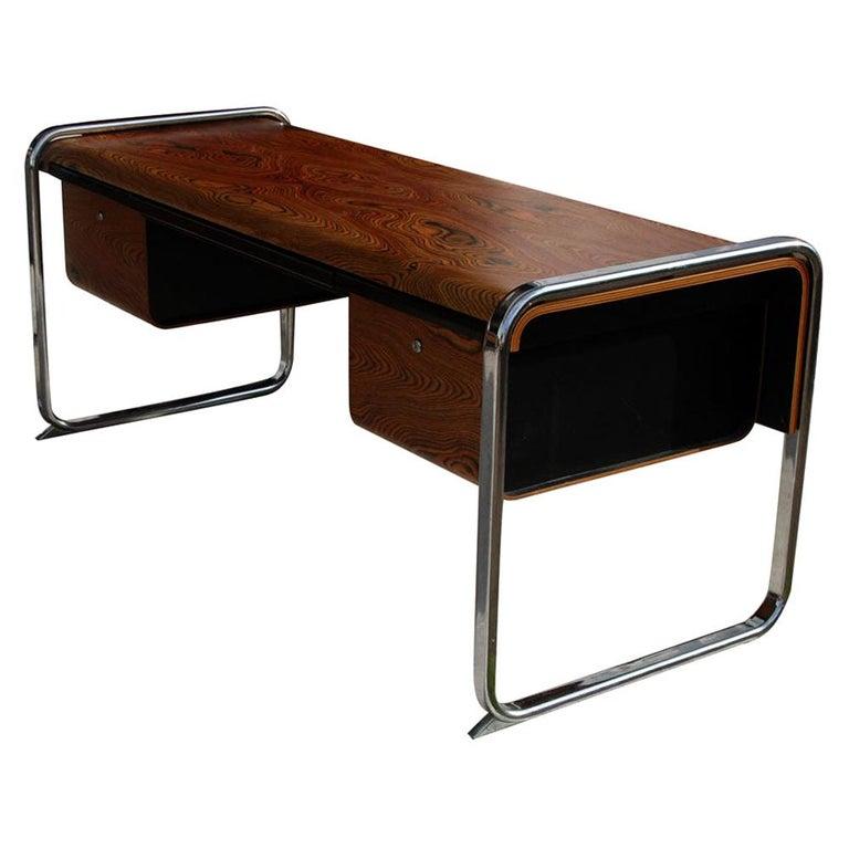 Peter Protzmann Zebra Wood and Chrome Desk for Herman Miller For Sale