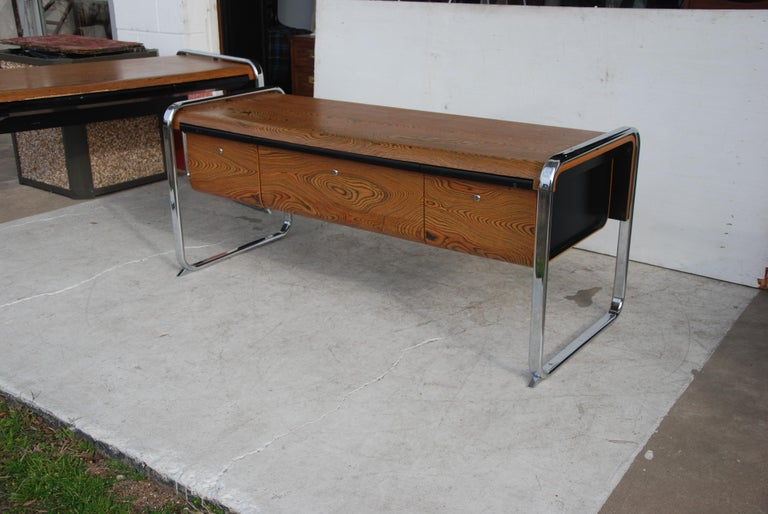 Credenza designed by Peter Protzmann for Herman Miller in the 1970s. This was a limited production run. Made from exotic African zebra-wood and supported by a chrome frame and three drawers.