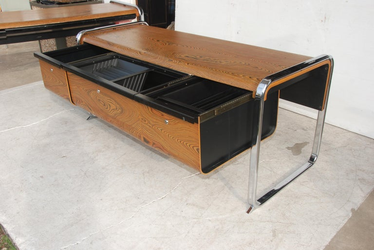 American Peter Protzmann Zebrawood and Chrome Credenza for Herman Miller For Sale