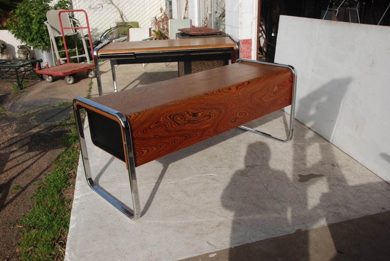 Zebra Wood Peter Protzmann Zebrawood and Chrome Credenza for Herman Miller For Sale