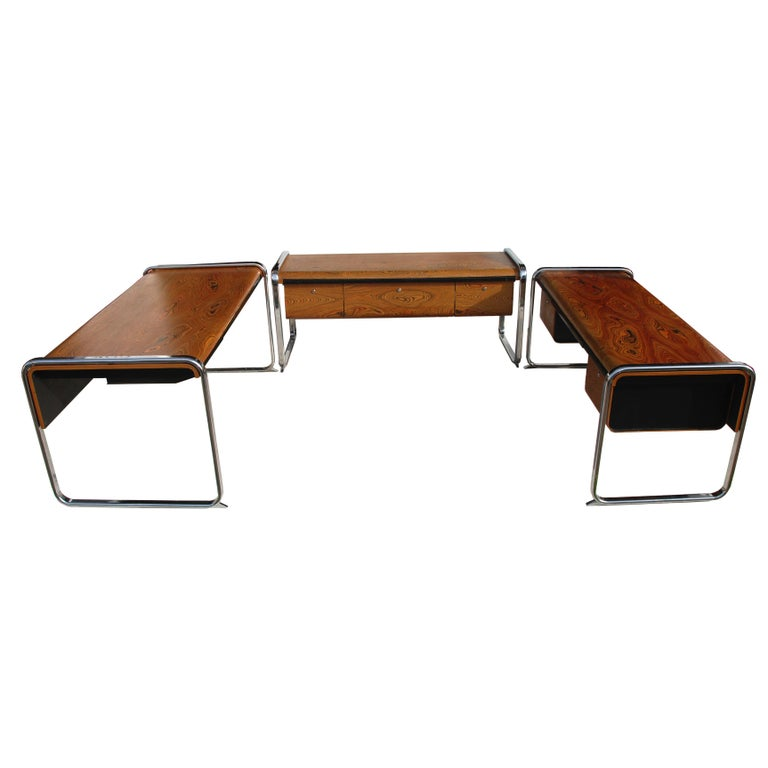 Peter Protzmann Zebrawood and Chrome Credenza for Herman Miller For Sale 2