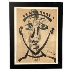 Peter Robert Keil Framed Ink & Charcoal on Paper 1975 Portrait on Nude