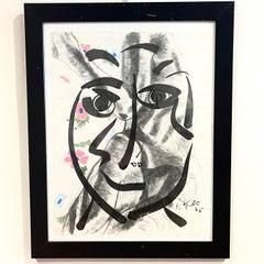 Peter Robert Keil Framed Ink & Charcoal on Paper 1975 Portrait on Nude w Flowers