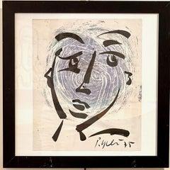 Peter Robert Keil Framed Ink Portrait on Paper 1975