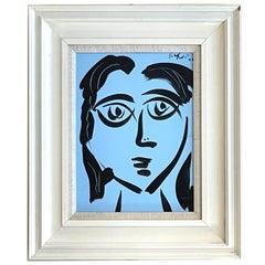 Peter Robert Keil Framed Woman in Blue Painting on Board 1972