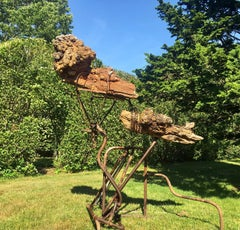 """An Offering"" Organic, Abstract Sculpture, Wood Burl, Reclaimed Farm Equipment"