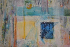 Blue Rectangle: Mixed Media Contemporary Painting by Peter Rossiter