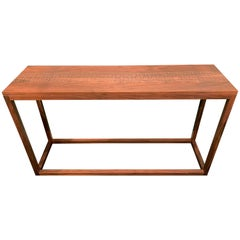 Peter Sandback Modernist Walnut Console with Geometric Nailwork Decoration
