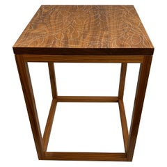 Peter Sandback Modernist Walnut Nailwork Side Table with Foliate Leaf Design