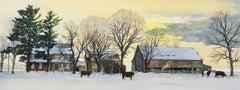 Backland, Hand Drawn Lithograph, Winter Landscape Bucks County, Stone Farmhouse