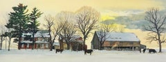 BACKLAND, Hand Drawn Lithograph, Winter Landscape Bucks County, Stone Farmhouse