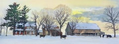 BACKLAND Signed Lithograph, Bucks County Landscape, Stone Farmhouse, Yellow Sky