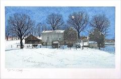 DOMINO Signed Lithograph, Historic Stone Farmhouse, Bucks County Landscape, Cow