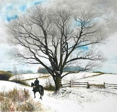 HILLTOPPER Signed Lithograph, Snow Covered Hilltop, Equestrian English Riding