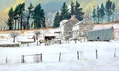 LITTLEWOODS, Signed Lithograph, Historic Stone Farmhouse, Bucks County Landscape