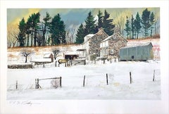 LITTLEWOODS Signed Lithograph, Historic Stone Farmhouse, Bucks County Landscape