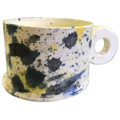 Peter Shire EXP Signed Ceramic Pottery Splatter Mug Cup Sculpture, Dated 1979
