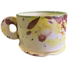 Peter Shire EXP Signed Ceramic Pottery Splatter Mug Cup Sculpture, Early 1980s