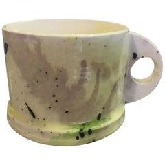 Peter Shire EXP Signed Ceramic Pottery Splatter Mug Cup Sculpture, Mid-1980s