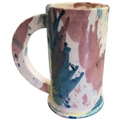 Peter Shire EXP Signed Ceramic Pottery Splatter Tall Mug Sculpture, Dated 1981