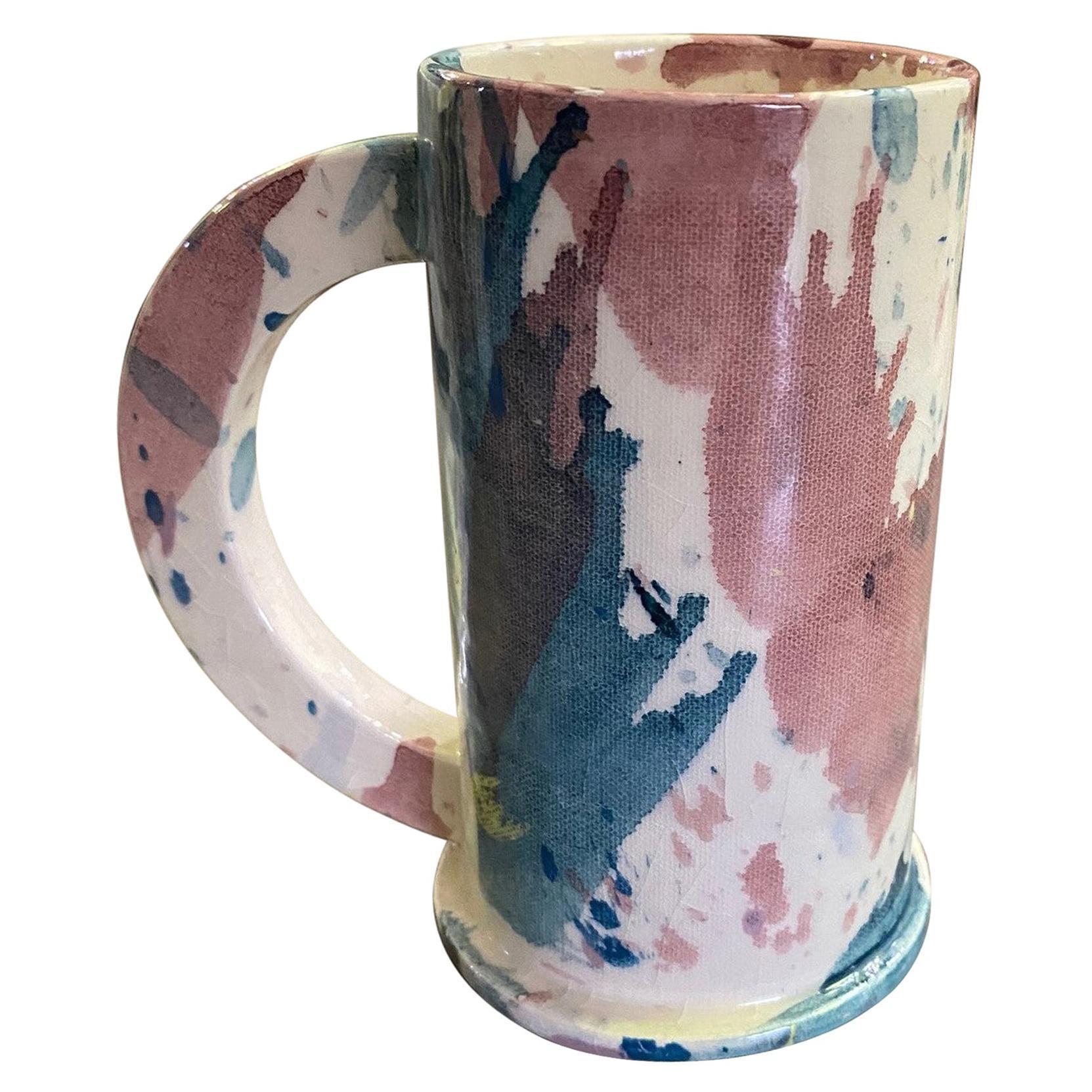 Peter Shire EXP Signed Ceramic Pottery Splatter Tall Mug Sculpture, Dated 1981