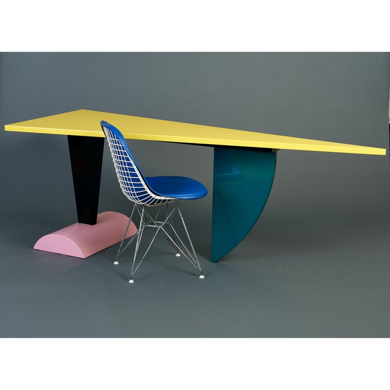 Mid-Century Modern Peter Shire Memphis Milano Brazil Table in Lacquered Wood, Italy, circa 1981 For Sale