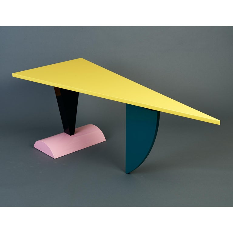 Italian Peter Shire Memphis Milano Brazil Table in Lacquered Wood, Italy, circa 1981 For Sale
