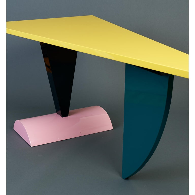Peter Shire Memphis Milano Brazil Table in Lacquered Wood, Italy, circa 1981 For Sale 3