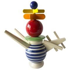 Peter Shire Postmodern Memphis Ceramic Double Spouted Teapot