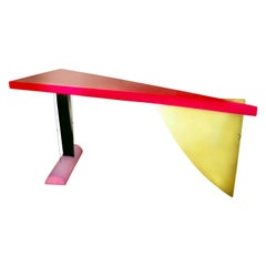 Peter Shire Prototype Brazilia Table, Shire Studio, Memphis Group, Red Gold 1980