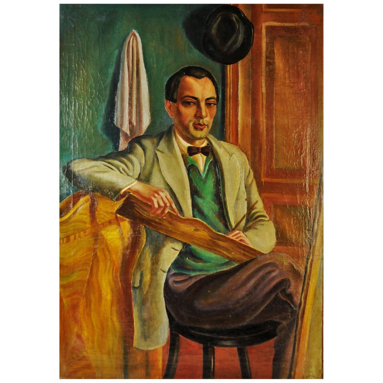 Peter Siabkyn, Self-Portrait, Oil on Canvas Painting, 1928 For Sale