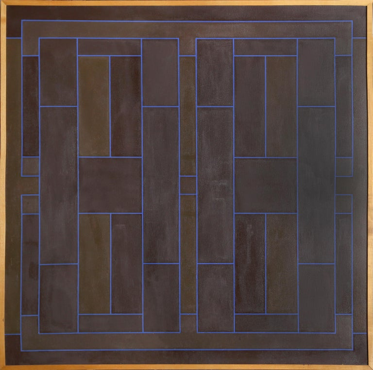 Artist: Peter Stroud, British (1921 - 2012) Title: Blue on Brown Overlap Year: 1971 Medium: Acrylic on Canvas, signed, dated and titled verso  Size: 48 x 48 inches