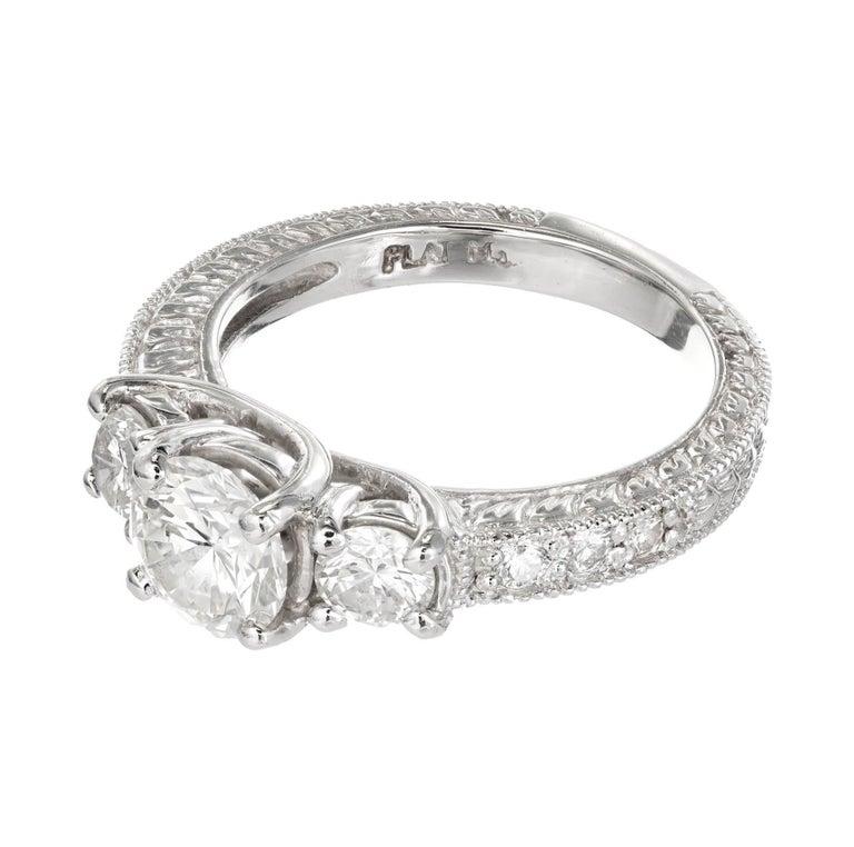Round Cut Peter Suchy 1.00 Carat Diamond Three-Stone Platinum Engagement For Sale