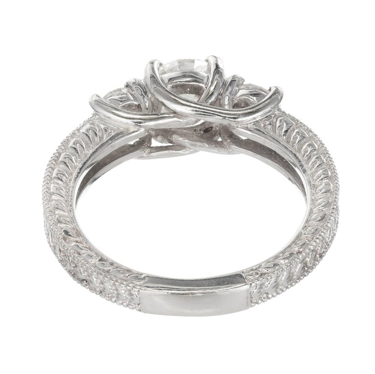 Women's Peter Suchy 1.00 Carat Diamond Three-Stone Platinum Engagement For Sale