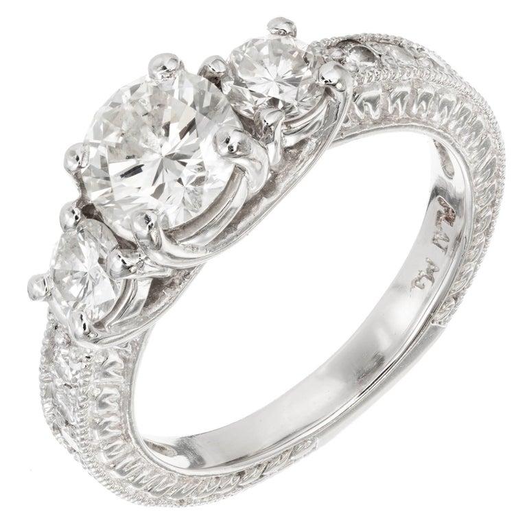 Peter Suchy 1.00 Carat Diamond Three-Stone Platinum Engagement For Sale