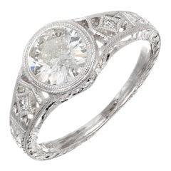Peter Suchy 1.01 Carat Old European Diamond Platinum Engagement Ring