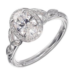 Peter Suchy 1.01 Carat Oval Diamond Halo Engagement Platinum Ring