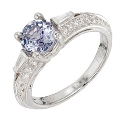 Peter Suchy 1.06 Carat Color Change Sapphire Diamond Platinum Engagement Ring