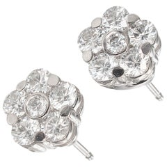 Peter Suchy 1.06 Carat Diamond White Gold Cluster Stud Earrings