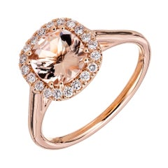Peter Suchy 1.08 Carat Morganite Diamond Rose Gold Halo Ring