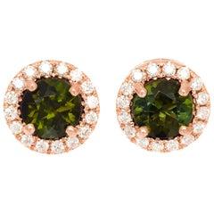 Peter Suchy 1.11 Carat Tourmaline Diamond Rose Gold Halo Stud Earrings
